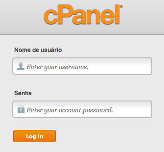 Tela de login do cPanel.