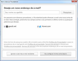 Thunderbird: Escolher e-mail existente