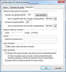 Outlook: Configurações avançadas