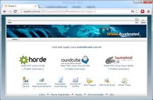 Tela de escolha de webmail