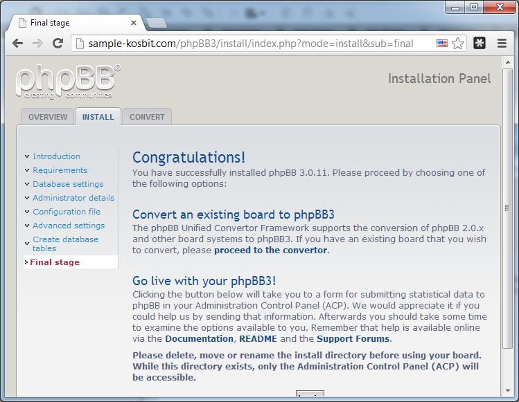 Tela de boas-vindas do phpBB