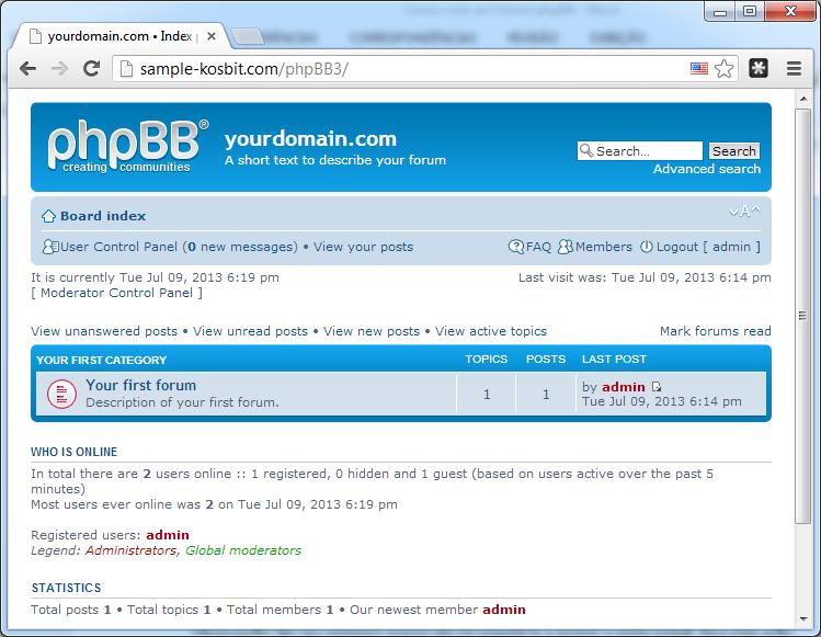 Tela inicial do fórum phpBB instalado