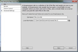 Tela da adição de um novo projeto no Dreamweaver
