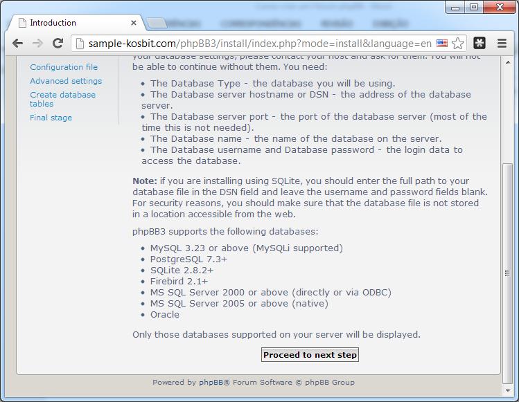 Tela inicial de instalação do phpBB