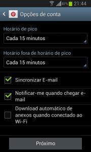 Configuração das preferências do e-mail