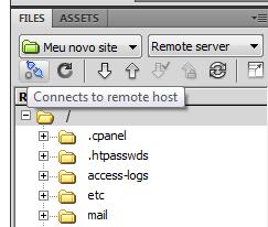 Botão de conexão remota com o servidor
