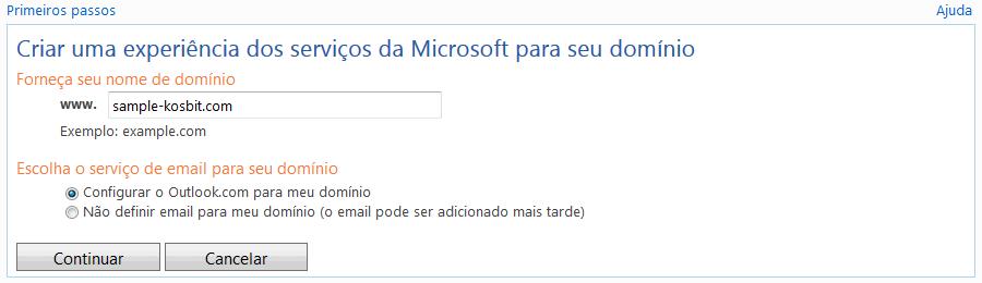 Criação de uma conta Microsoft