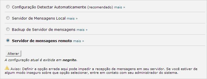 Configuração de e-mail remoto