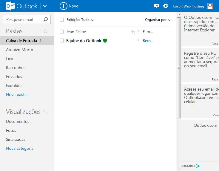 Tela inicial do e-mail Outlook