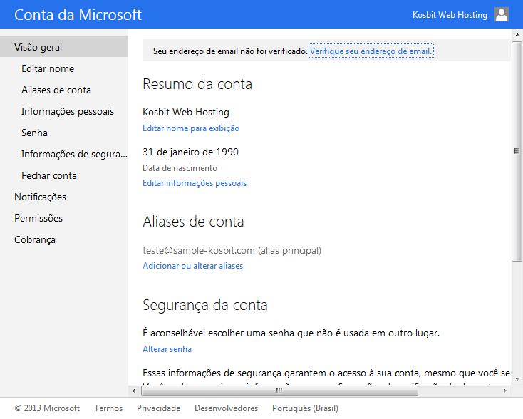 Informações da conta Microsoft
