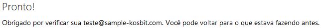 Tela de confirmação do e-mail